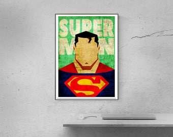 SUPERMAN Poster Superhero Minimalist Poster Comics print Christmas gift large size posters superman logo movie posters minimalist movie art
