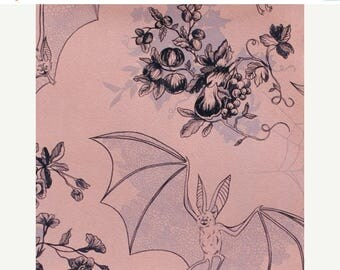 20% Off Angela's Attic Alexander Henry Floral Toile Print, Spider Webs, Lace Patterned Bats, Pink with Gray Accents, 100 Percent Cotton Fabr