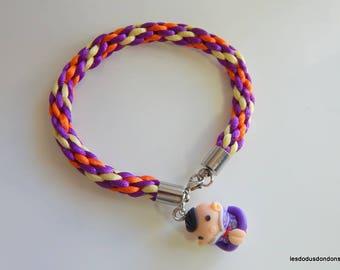 Beaded braided teen girl kumihimo purple orange yellow