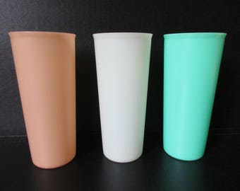 "Vintage Tupperware Tumblers, Tupperware Sheer Pastel 6-1/2"" Tall Iced Tea Tumblers, Plastic Cups Camping Glamping Picnics Poolside Outdoors"