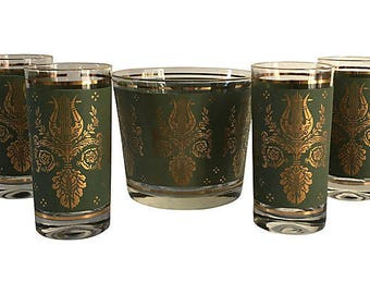 Hollywood Regency 24K Ice Bucket & Glasses, S/5