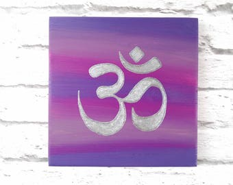 Om Sign   Om Wall Art   Om Painting   Silver Om Decor   Purple Wall