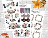 Autumn Rose Full Set Planner Stickers boho