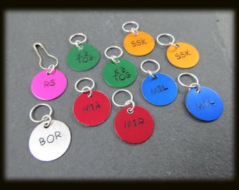 Snag Free Stitch Markers for Knitting ID Tags Light Weight Hand Stamped Color Coded Set of 10
