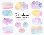 Stains,Banner,Blobs,Paint,Splotches,Curcles,Brushes,Logo,Rainbow,Pastel,Colors,Watercolor,Digital,Clipart,Clip art