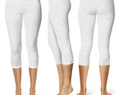 READY TO SHIP - White Leggings in Size Medium, Printed Yoga Pants for Women, Capris