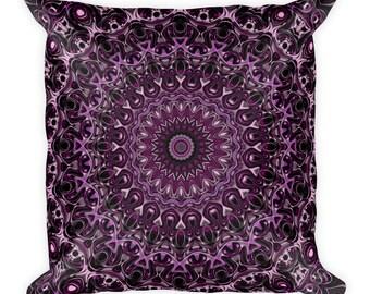 18x18 Throw Pillow, Purple and Pink Medallions, Mandala Pillow, Decorative Cushion