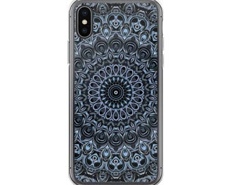 Blue Phone Case, Decorative Phone Case, Dark Blue Mandala Design for Samsung Galaxy and iPhone