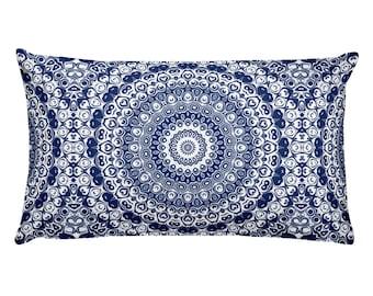Indigo Pillow, Decorative Throw Pillow, 20x12 Lumbar Pillow, Blue and White Mandala Design Rectangle Cushion