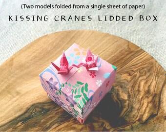Kissing Cranes Origami Lidded Box