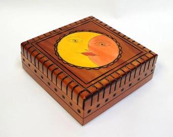 Handmade Wooden Box with Sun and Moon / Jewellery Box/ Trinket Box/ Storage Box/ Jewelry Box/Keepsake Box