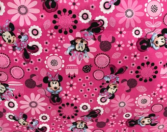 Disney bright pink flower Minnie Mouse fabric, Disney fabric, Minnie fabric, kids fabric, cartoon fabric, cotton fabric