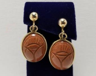Carved Goldstone Scarab Earrings