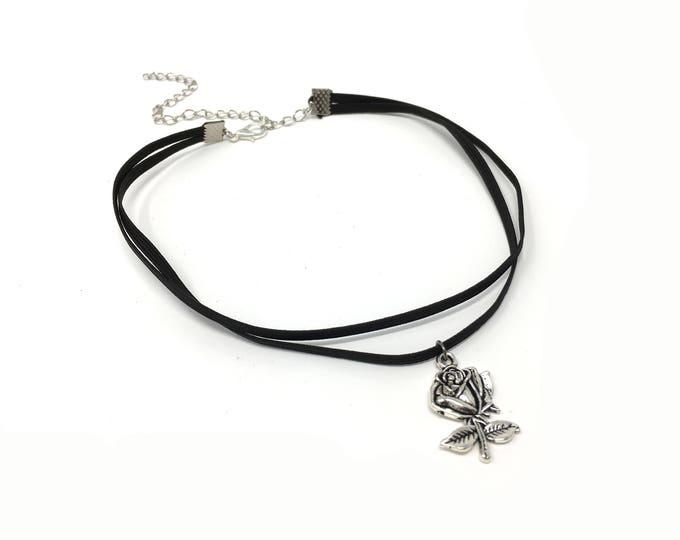 SKY ROSE: silver double cord elastic choker
