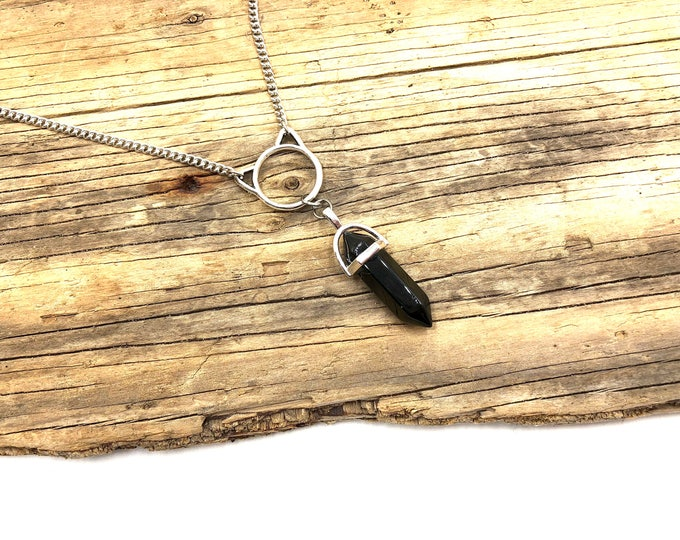 BASTET: silver cat necklace with obsidian crystal