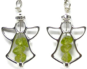 angel earrings with peridot, angel earrings with gemstone, angel earrings,august birthstone, angel jewelry, jewelry with angels