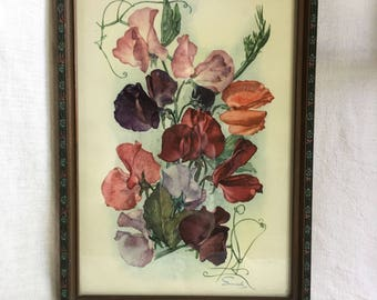 Vintage Buzza Smeele Sweet Peas Print, French Country Decor, Cottage Wall Art