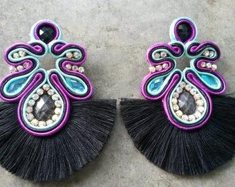 earrings with black fringe
