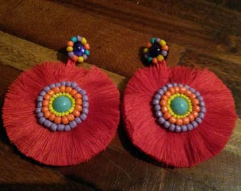 large earrings with tassels red