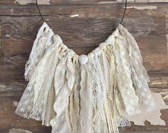 Cream lace heart dreamcatcher