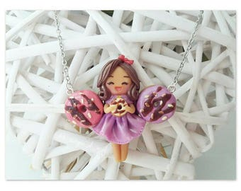 Chibi: polymer clay Doll necklace kawaii Donuts creation
