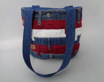 Denim Purse, Upcycled Denim Bag, Red, White and Blue Purse, Mother's Day Gift, Patriotic Purse, Handbag, Gift for Her, Blue Purse, Red Purse