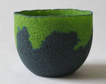 pate de verre (glass) blue & green vessel g17-074