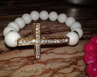 Women's White Cross bracelet