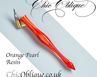 Oblique Pen Holder, Orange Pearl Resin