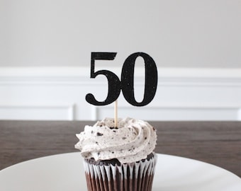 "50th Birthday Cupcake Toppers - Black Glitter Decorations, Adult Dessert Picks, Gender Neutral Decor, ""50"" Cutouts, One Dozen, 12 Count"