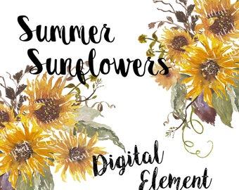Watercolor Clip-art, Sunflower Watercolor Clip-art, Yellow Sunflowers, Watercolor Clip-art, Scrapbook Clip-art. No. WC57