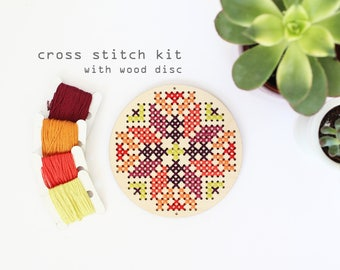 Abstract Flower - Autumn - Modern DIY wood cross stitch kit - beginners cross stitch kit - kids cross stitch kit