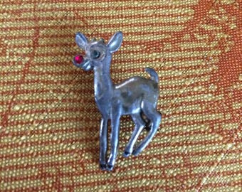 RUDOLPH The Red Nose Reindeer Vintage silver tone metal CHRISTMAS PIN with Rhinestones