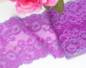 "1 m (1.09 yd) of Stretch lace - Purple & Mint Two Tone - 16 cm (6 1/2"") Wide"