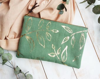 Clutch purse / pouch organic cotton handmade green and gold leaf