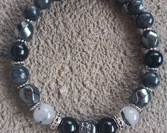 Please energized Bracelet please protection and grounding, larkivite, hematite, onyx, tourmalated quartz