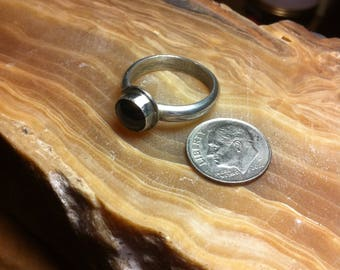 Black Onyx Ring 11-8 1/2, Sterling Silver Ring, Statement Ring, Black Onyx and Silver Ring