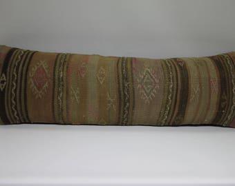 long lumbar pillow decorative pillows cushions brown turkish kilim pillow 12x36 lumbar pillows kilim lumbar pillow