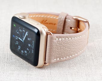 38MM Apple Watch Band-Chèvre Leather Rose Beige