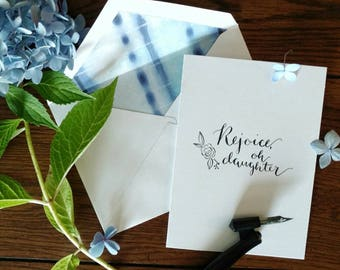 Indigo Dyed Stationary / Pretty Note Cards / Modern Calligraphy Cards / Floral Note Cards / Wildflower Stationary / You Are Worth More Than