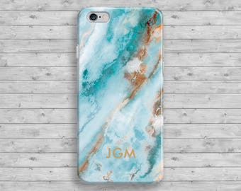 Monogram iPhone 7 plus Case, iPhone 7 Case, Marble iPhone 6S Case, Personalized iPhone 6 Plus Case, Turquoise iPhone SE Case, iPhone 5S Case