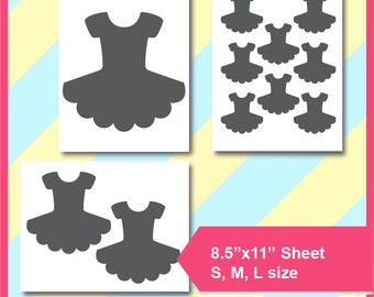 "Bundle 3 sizes of Tutu Template, cake topper, Ballerina Party PSD, PNG and SVG Formats,  8.5x11"" sheet,  Printable 170"