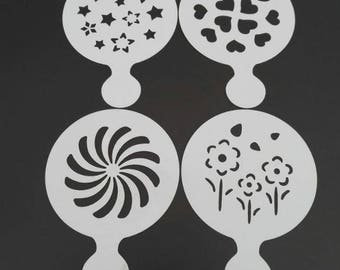 Flowers, Stars, Hearts stencils 4 pack