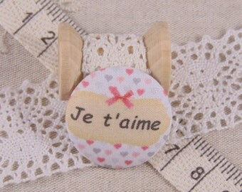 x 1 22mm fabric button I love you more A17