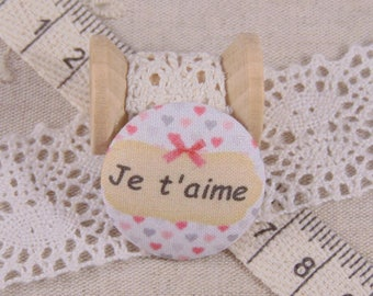 x 1 38mm fabric button I love you more A17