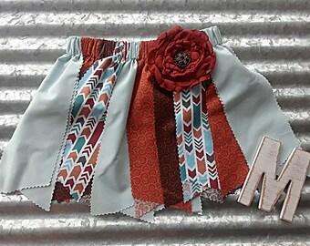 Moana inspired  birthday toddler fabric scrap skirt tutu outfit
