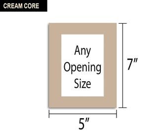 Multiple Colors - Any Opening Size - 5x7 Photo Mat (CREAM CORE)