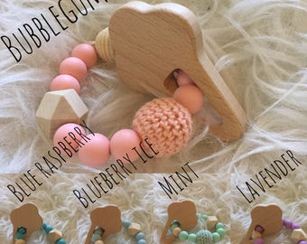 Ice Cream Collection Teething Toy - Natural Wood & BPA Free Silicone Chew Bead Teething Toy