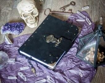 Black suede sketchbook, spellbook, book of shadows, witchcraft, wicca, pagan, magic