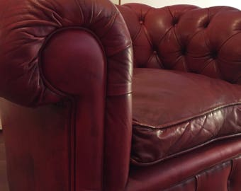 Beautiful Burgundy Red leather armchair model chester